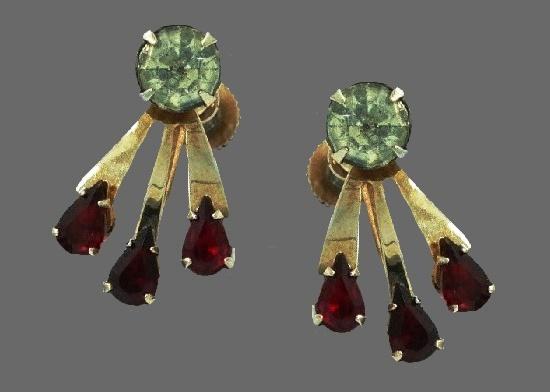 Dangle screw back earrings. Gold tone, rhinestones