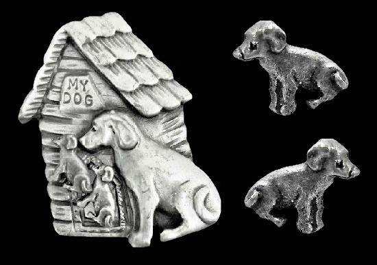 Dog and puppy brooch and earrings. Pewter