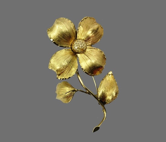 Dogwood flower 12 K gold filled brooch