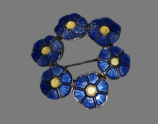 Dogwood wreath pin. Sterling silver, blue enamel