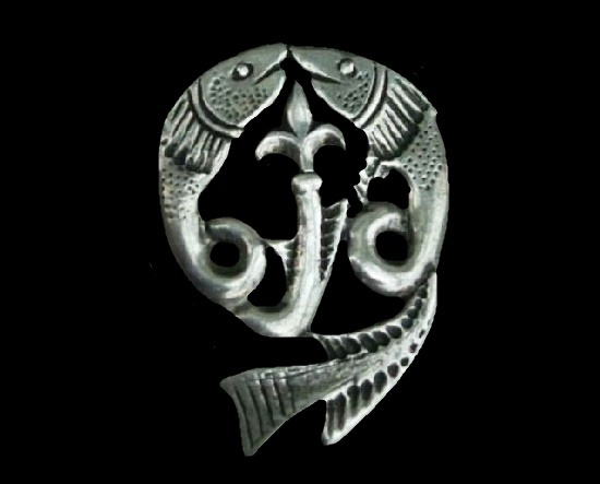 Duette fish brooch. Pewter. 1970s