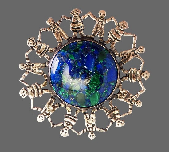 Earth planet holding hands people brooch. Sterling silver, azurite