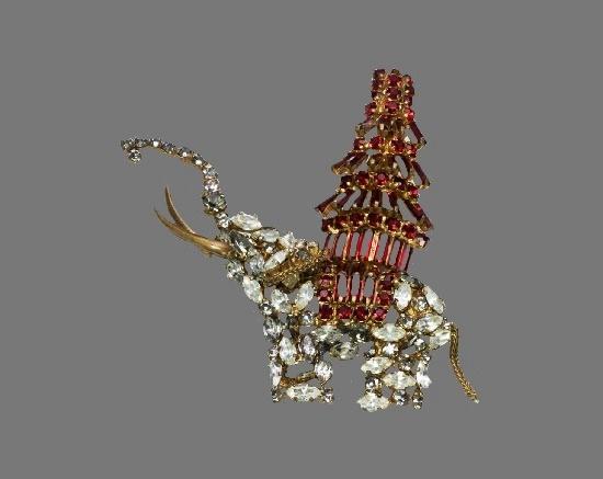 Elephant Pagoda Brooch. Gold tone metal, Crystals