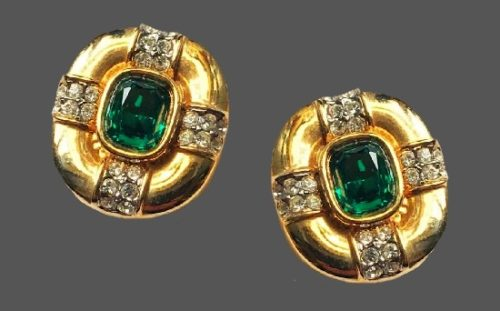 Emerald crystal rhinestones gold tone earrings