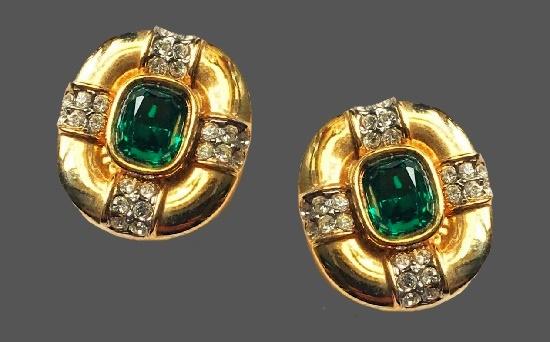 Emerald crystal rhinestones gold tone earrings