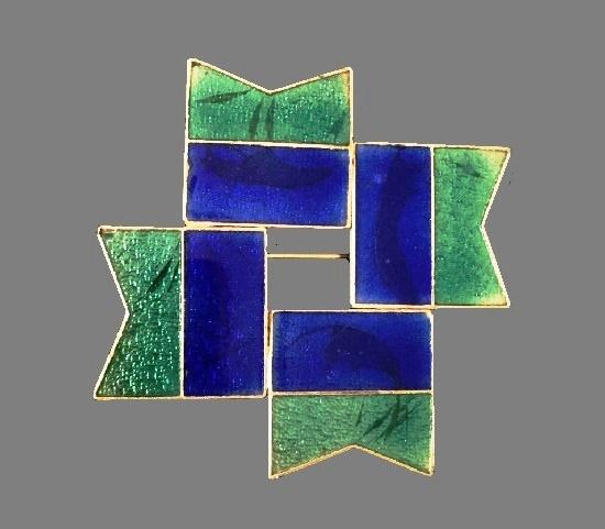 Enameled geometrical shape brooch pin