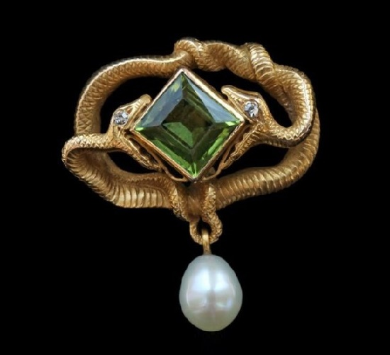Eternal Entwined Snakes Brooch. Gold Peridot Diamond Pearl. Circa 1900