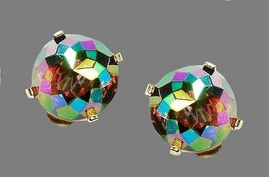 Faceted Aurora borealis smoke topaz glass earrings