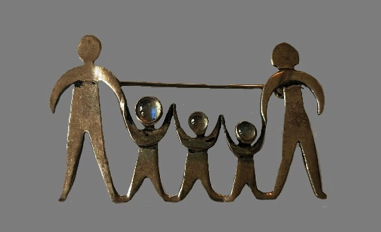 Family of four sterling silver, moonstone brooch
