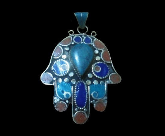 Faux coral, turquoise and lapis lazuli gemstones handcrafted hamsa