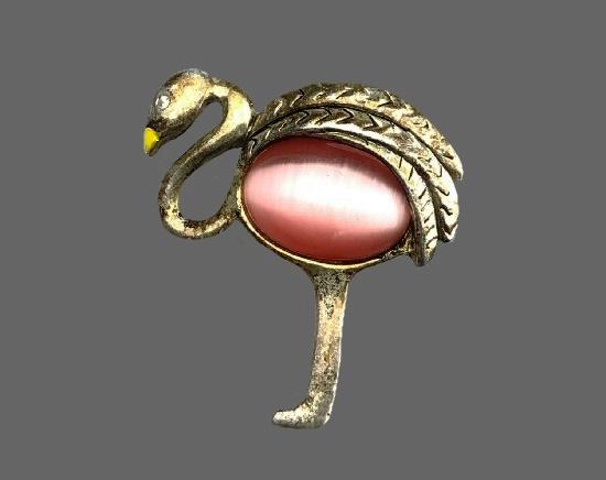 Flamingo brooch. Silver tone, enamel