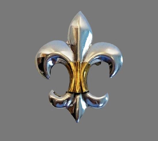 Fleur-de-lis pendant brooch. Sterling silver, brass