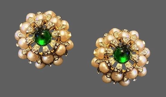 Floral design clip on earrings. Jewelry alloy, gold plated, green poured glass, faux pearls, rhinestones