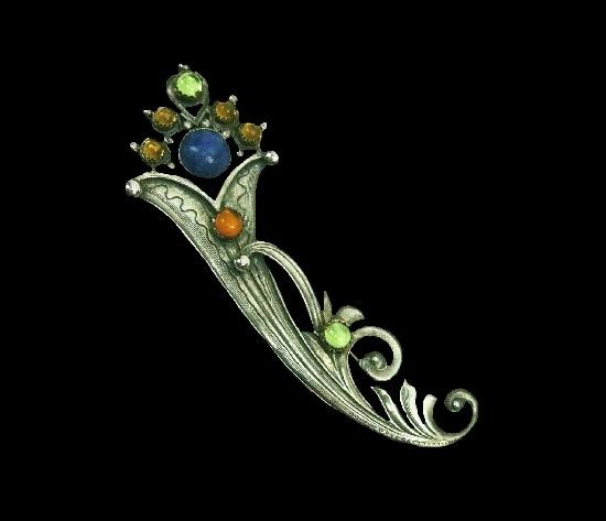 Floral design semi-precious stones textured sterling silver brooch