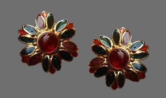 Flower clip on earrings. Gold tone, red enamel, art glass