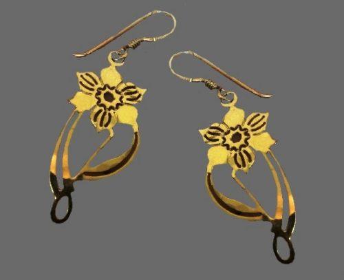 Flower earrings, gold plated