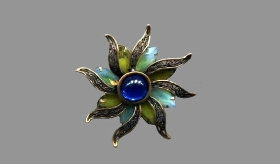 Flower pin. Gold tone metal, art glass, enamel