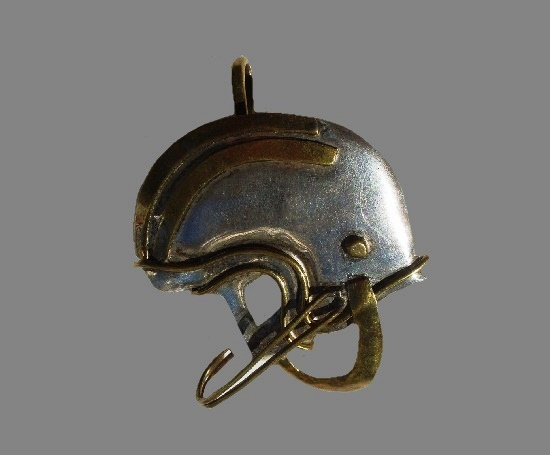 Football Helmet pendant brooch. Sterling silver, brass