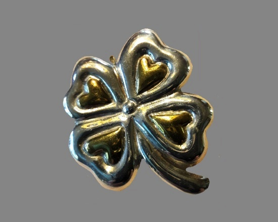 Four leaf clover brooch. Sterling Silver with Brass Accents