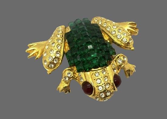 Frog brooch. Gold tone, rhinestones, red art glass
