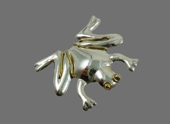 Frog brooch. Sterling Silver, brass