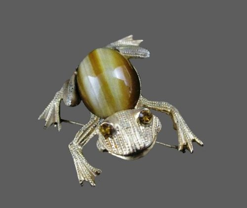 Frog brooch. Sterling silver, art glass, rhinestones