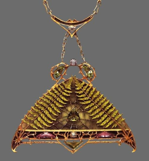 Full of mysticism pendant - Celtic story with spider, cobweb and fern. Gold, emerald, green enamel, diamonds. Circa 1900. French jewelry designer Lucien Gautrait