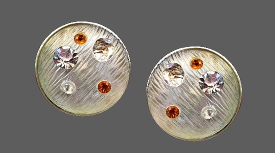 Galaxy clip on earrings. Silver, lucite, crystals