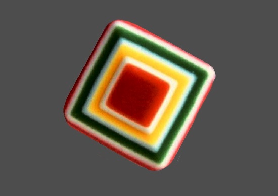 Geometric design multicolored backelite pin
