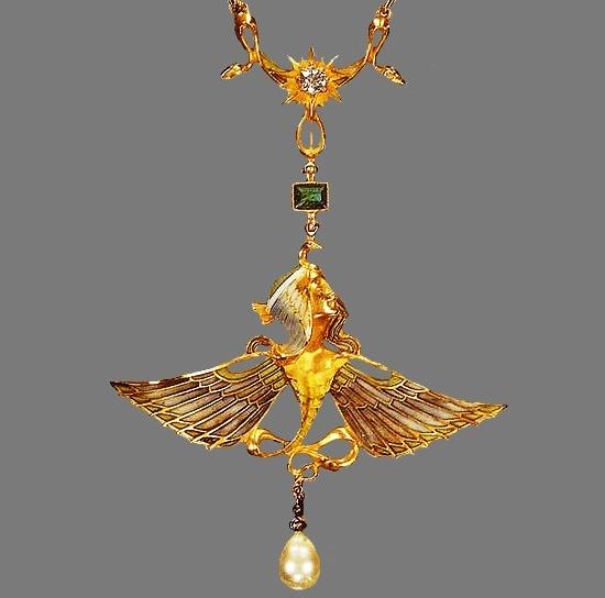Gold Art Nouveau pendant