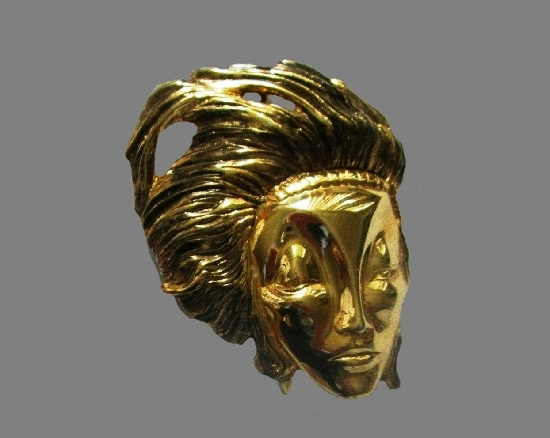 Gold Face Head Hair Pin