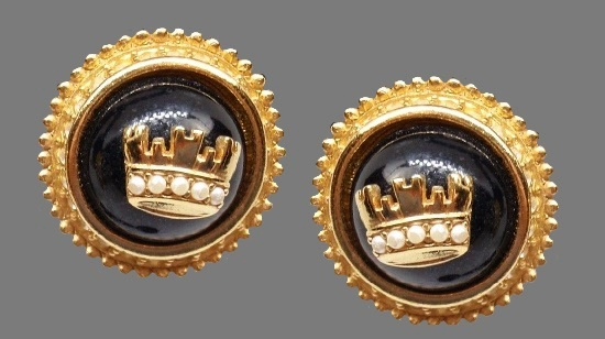 Gold crown pierced earrings. Black cabochon stones, faux pearls, clear crystals. 1970s
