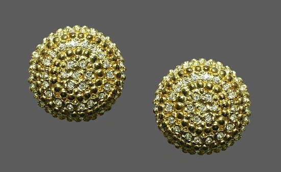 Gold dome rhinestone clip on earrings
