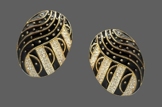 Gold plated black and white enameled clip on earrings