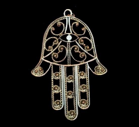 Gold tone black enamel crystal pendant