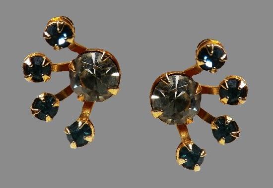 Gold tone rhinestone screw back earrings
