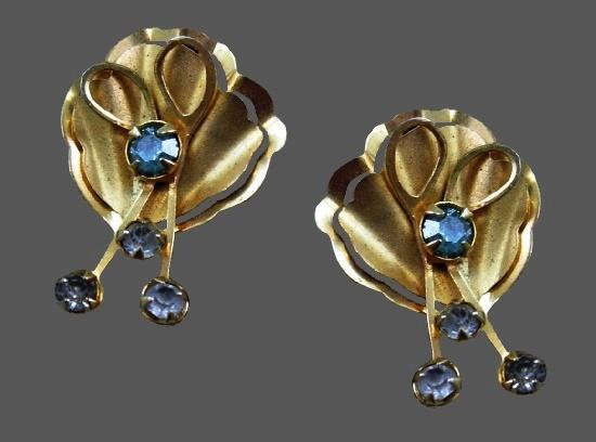 Gorgeous gold tone rhinestone earrings