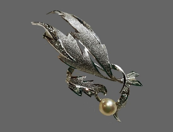 Gorgeous sterling silver, faux pearl, rhinestones brooch