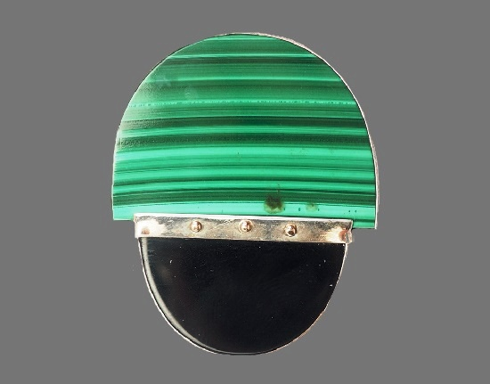 Green malachite black onyx sterling silver modernist pin