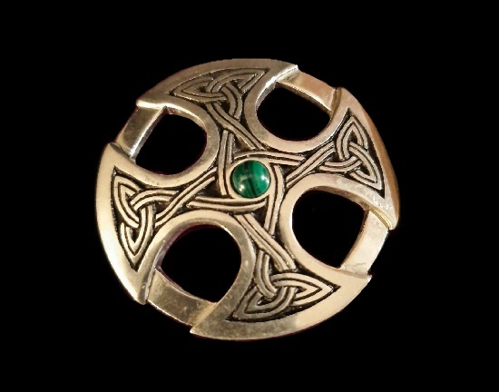 Green stone St Brynach Cross Brooch