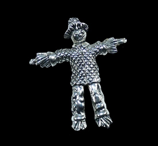 Halloween Scarecrow silver plated brooch pin