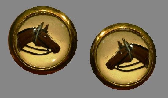 Horse Equestrian Cufflinks. 14 K gold plated, art glass
