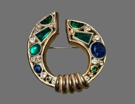 Horseshoe shaped brooch. Gold tone, moonstone, rhinestones, art glass