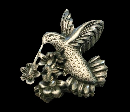 Hummingbird All in One set of jewelry - brooch, earrings and necklace. Genuine pewter box