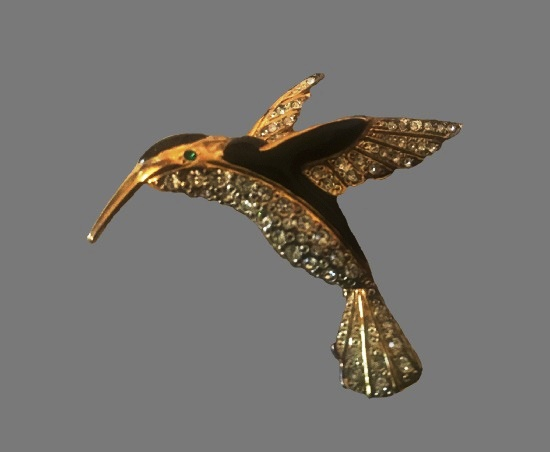 Hummingbird brooch. Gold plated, black enamel, rhinestones
