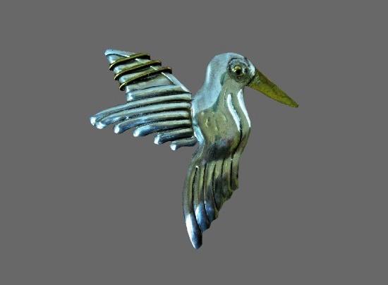 Hummingbird pendant brooch. 925 sterling silver and brass