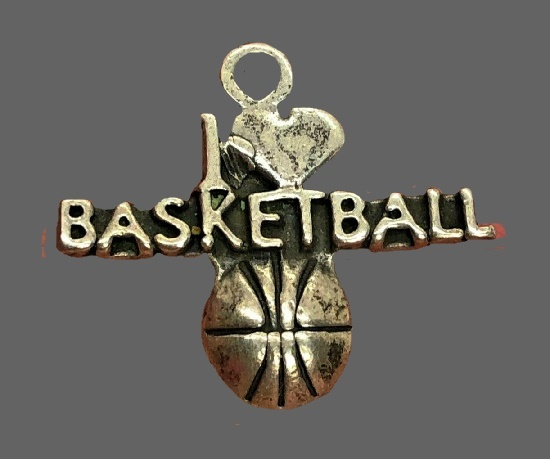I Love Basketball sterling silver charm