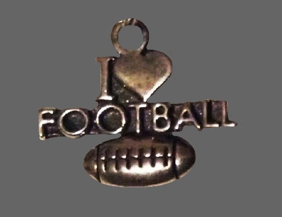 I love football 925 sterling silver charm
