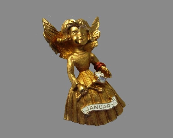 January angel pin. 24 gold plated, rhinestone, enamel