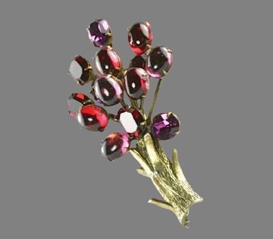 Jeweled tree pin. Gold tone metal, rhinestones